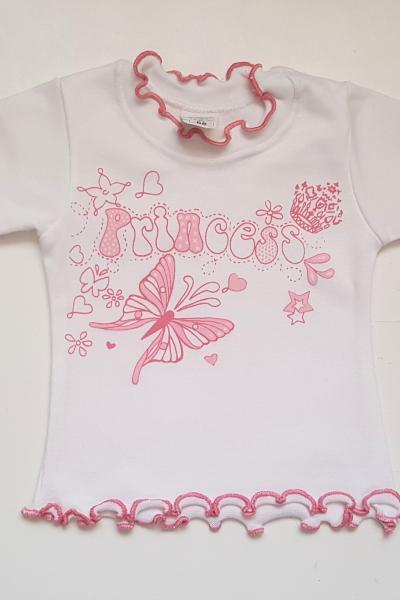 Elasztikus fehér pillangós pikós kislány póló 5521867a8f